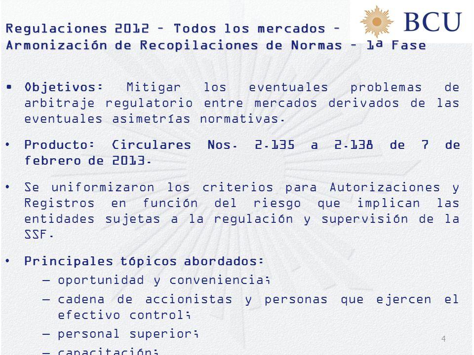 4 Regulaciones 2012 – Todos los mercados – Armonización de Recopilaciones de Normas – 1ª Fase Objetivos: Mitigar los eventuales problemas de arbitraje