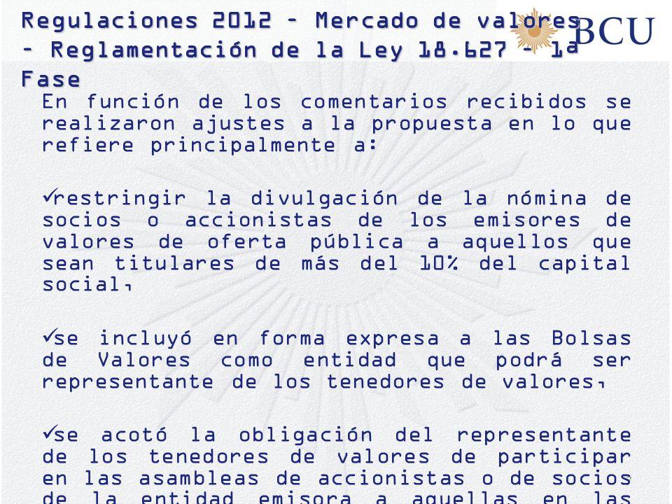 18 Plan de regulaciones 2013 – Mercado de Valores - Reglamentación de la Ley 18.627 – 2ª Fase Bolsas de Valores: – definición de actividades conexas; – revisión de reglamentos a efectos de incluir normas de gobierno corporativo; – capital mínimo.