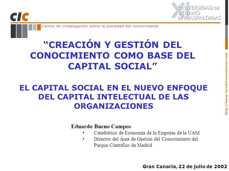 http://www. forodelconocimiento.com CREACIÓN Y GESTIÓN DEL CONOCIMIENTO COMO BASE DEL CAPITAL SOCIAL EL CAPITAL SOCIAL EN EL NUEVO ENFOQUE DEL CAPITAL
