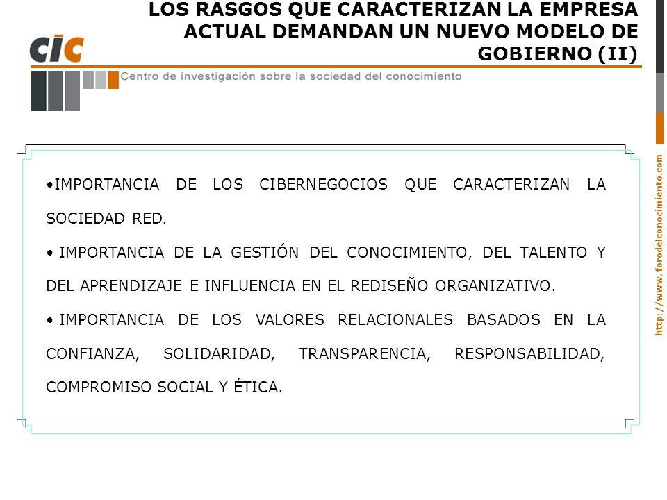 http://www. forodelconocimiento.com LOS RASGOS QUE CARACTERIZAN LA EMPRESA ACTUAL DEMANDAN UN NUEVO MODELO DE GOBIERNO (II) IMPORTANCIA DE LOS CIBERNE