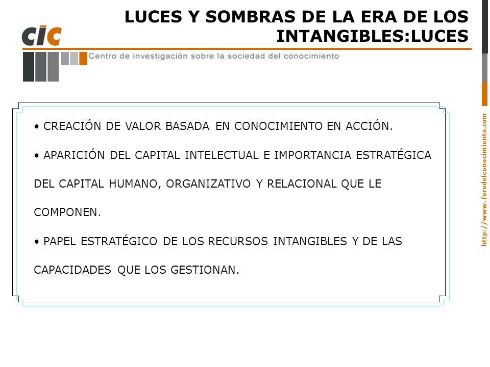 http://www. forodelconocimiento.com LUCES Y SOMBRAS DE LA ERA DE LOS INTANGIBLES:LUCES CREACIÓN DE VALOR BASADA EN CONOCIMIENTO EN ACCIÓN. APARICIÓN D