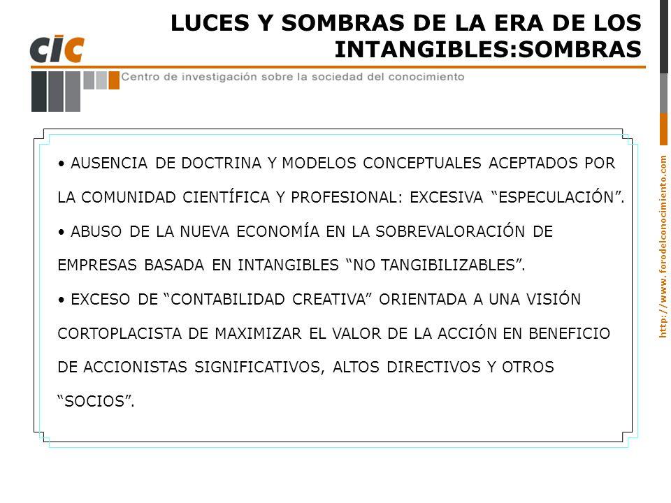 http://www. forodelconocimiento.com LUCES Y SOMBRAS DE LA ERA DE LOS INTANGIBLES:SOMBRAS AUSENCIA DE DOCTRINA Y MODELOS CONCEPTUALES ACEPTADOS POR LA