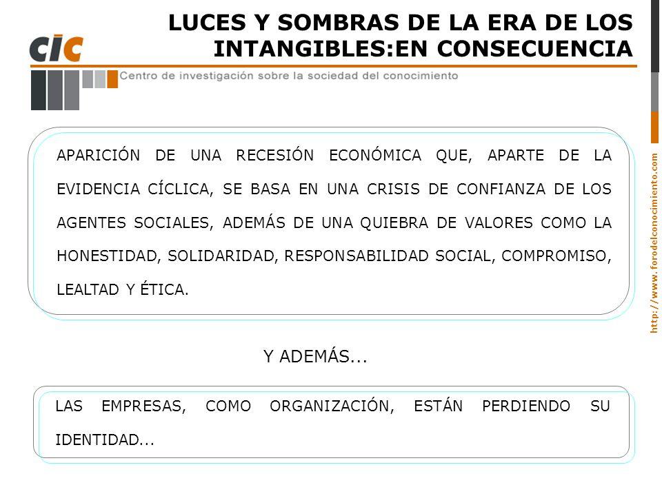 http://www. forodelconocimiento.com LUCES Y SOMBRAS DE LA ERA DE LOS INTANGIBLES:EN CONSECUENCIA APARICIÓN DE UNA RECESIÓN ECONÓMICA QUE, APARTE DE LA