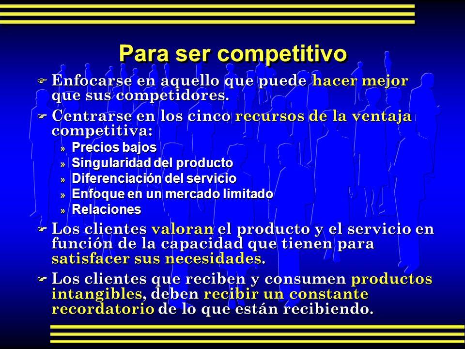 Para ser competitivo F Enfocarse en aquello que puede hacer mejor que sus competidores. F Centrarse en los cinco recursos de la ventaja competitiva: »