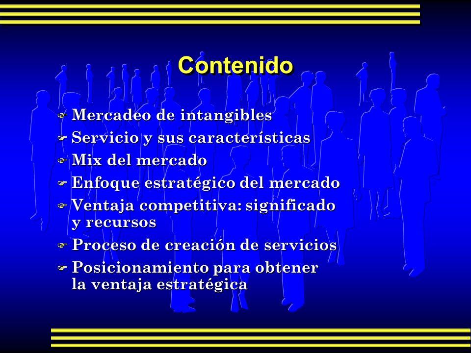 Contenido F Mercadeo de intangibles F Servicio y sus características F Mix del mercado F Enfoque estratégico del mercado F Ventaja competitiva: signif