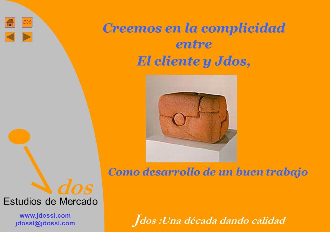 dos Estudios de Mercado ESC www.jdossl.com jdossl@jdossl.com J dos :Una década dando calidad Creemos en la complicidad entre El cliente y Jdos, Como desarrollo de un buen trabajo