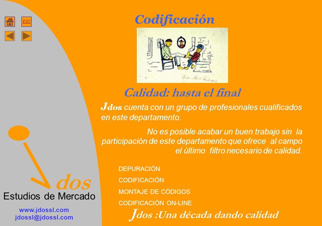 dos Estudios de Mercado ESC www.jdossl.com jdossl@jdossl.com J dos :Una década dando calidad Codificación Calidad: hasta el final J dos cuenta con un grupo de profesionales cualificados en este departamento.