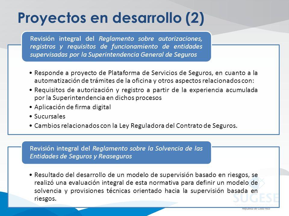 Proyectos en desarrollo (2) Responde a proyecto de Plataforma de Servicios de Seguros, en cuanto a la automatización de trámites de la oficina y otros