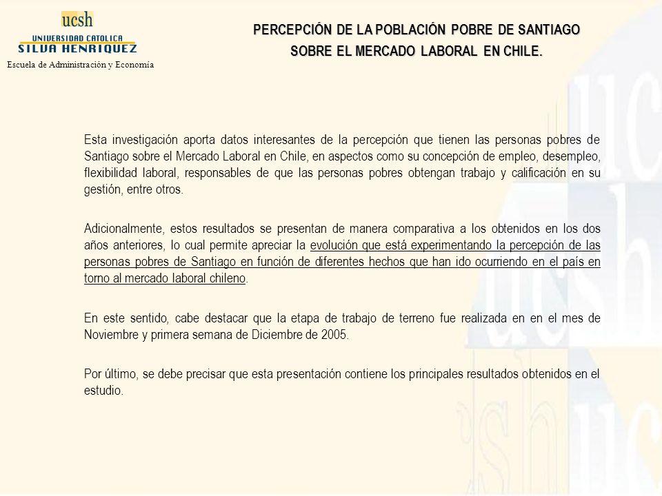 Esta investigación aporta datos interesantes de la percepción que tienen las personas pobres de Santiago sobre el Mercado Laboral en Chile, en aspectos como su concepción de empleo, desempleo, flexibilidad laboral, responsables de que las personas pobres obtengan trabajo y calificación en su gestión, entre otros.