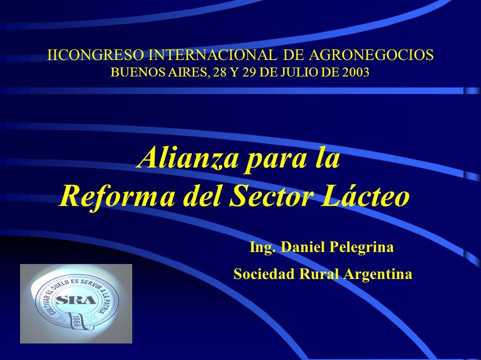 IICONGRESO INTERNACIONAL DE AGRONEGOCIOS BUENOS AIRES, 28 Y 29 DE JULIO DE 2003 Alianza para la Reforma del Sector Lácteo Ing.