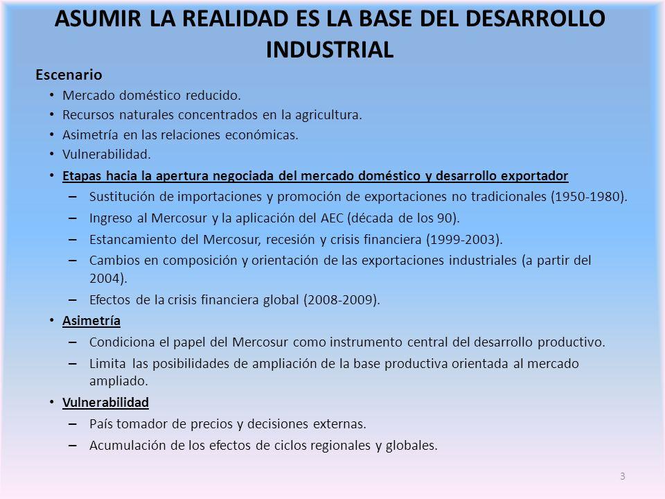3 ASUMIR LA REALIDAD ES LA BASE DEL DESARROLLO INDUSTRIAL Escenario Mercado doméstico reducido.