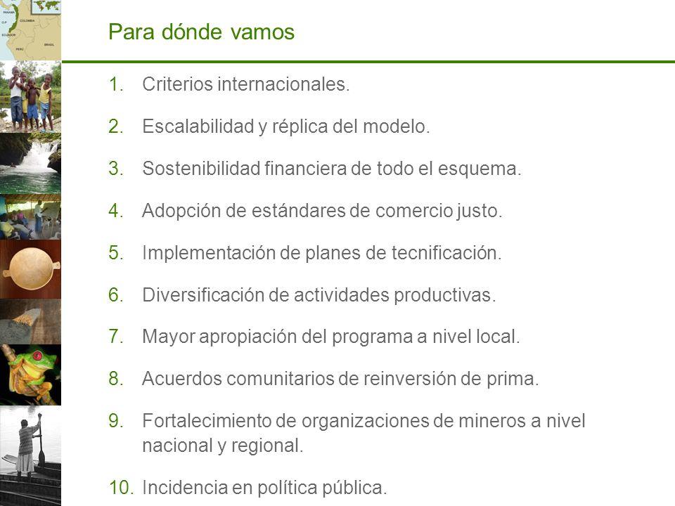 Para dónde vamos 1.Criterios internacionales. 2.Escalabilidad y réplica del modelo. 3.Sostenibilidad financiera de todo el esquema. 4.Adopción de está