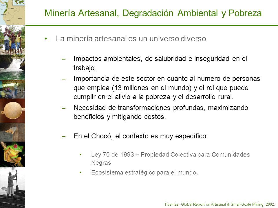 Minería Artesanal, Degradación Ambiental y Pobreza La minería artesanal es un universo diverso. –Impactos ambientales, de salubridad e inseguridad en