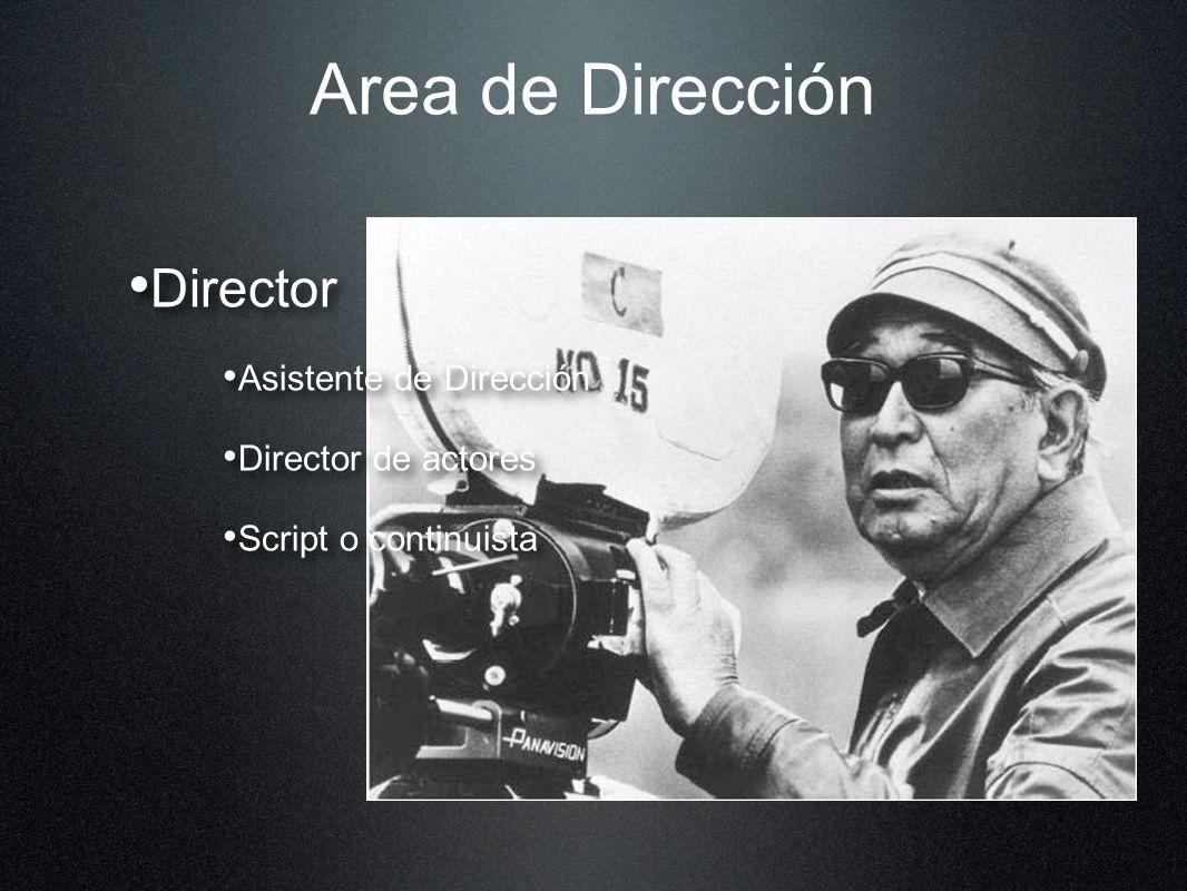 Area de Dirección Director Asistente de Dirección Director de actores Script o continuista Director Asistente de Dirección Director de actores Script
