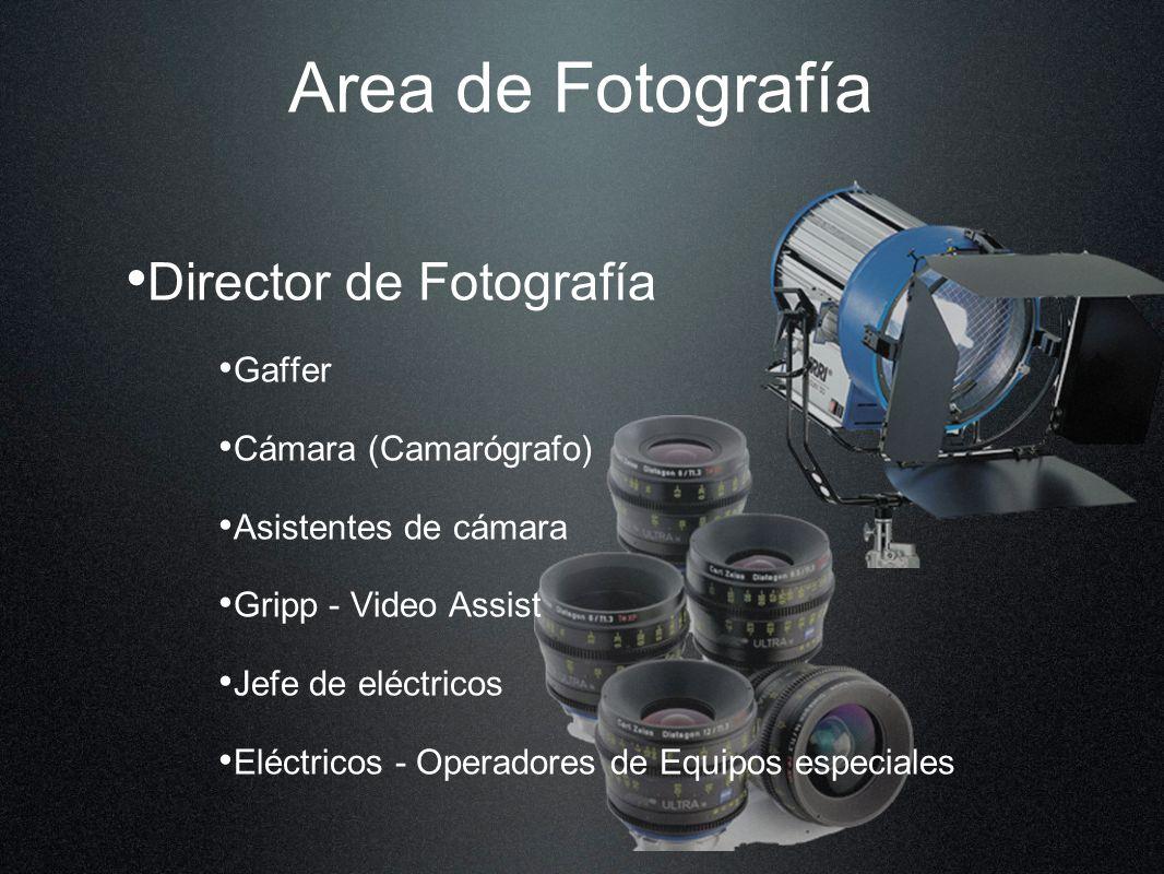 Area de Fotografía Director de Fotografía Gaffer Cámara (Camarógrafo) Asistentes de cámara Gripp - Video Assist Jefe de eléctricos Eléctricos - Operadores de Equipos especiales