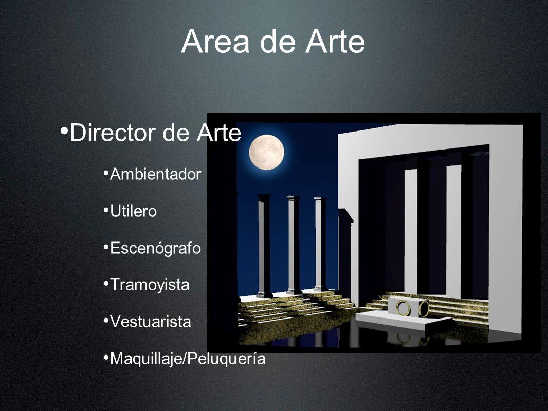 Area de Arte Director de Arte Ambientador Utilero Escenógrafo Tramoyista Vestuarista Maquillaje/Peluquería