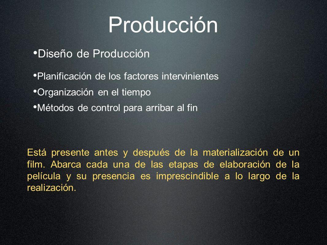 Diseño de Producción Planificación de los factores intervinientes Organización en el tiempo Métodos de control para arribar al fin Está presente antes y después de la materialización de un film.