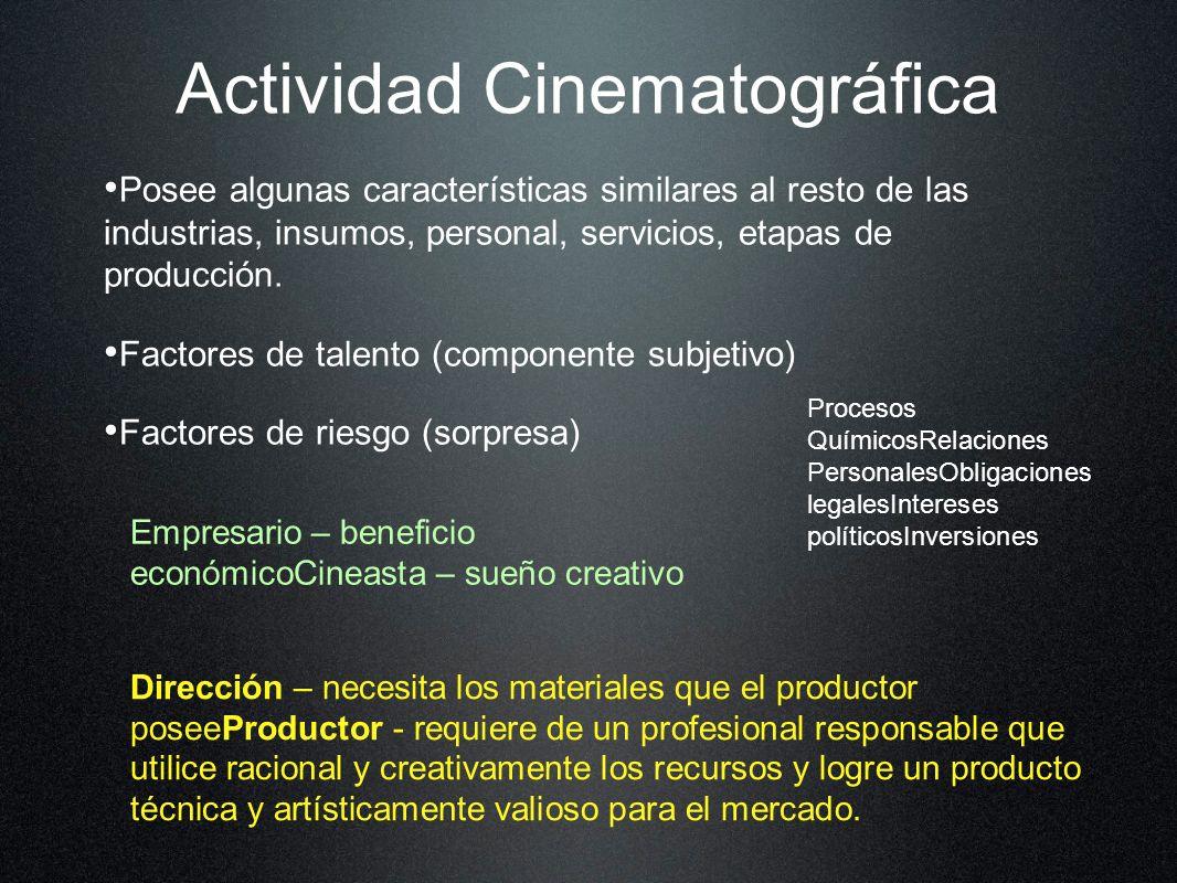Actividad Cinematográfica Posee algunas características similares al resto de las industrias, insumos, personal, servicios, etapas de producción. Fact