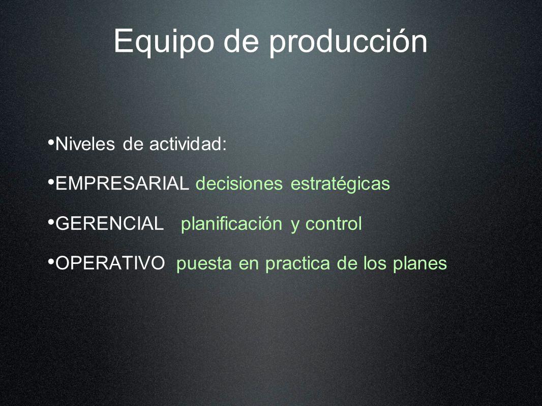 Equipo de producción Niveles de actividad: EMPRESARIAL decisiones estratégicas GERENCIAL planificación y control OPERATIVO puesta en practica de los planes