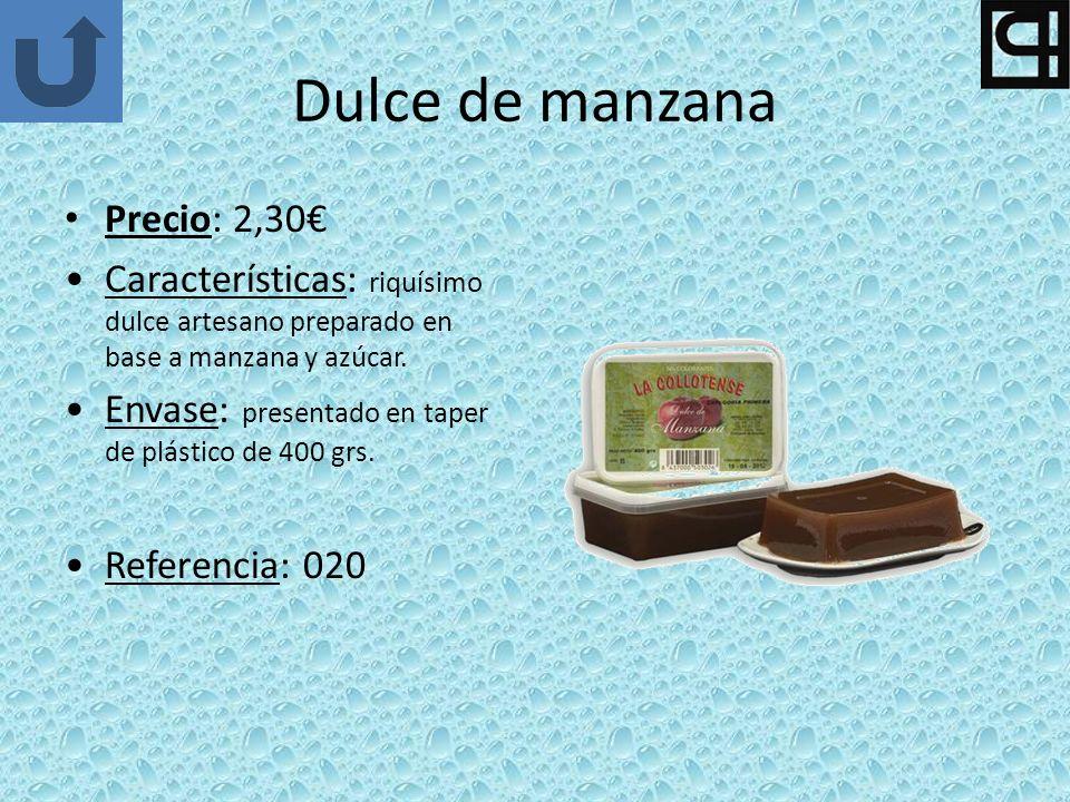 Dulce de manzana Precio: 2,30 Características: riquísimo dulce artesano preparado en base a manzana y azúcar. Envase: presentado en taper de plástico