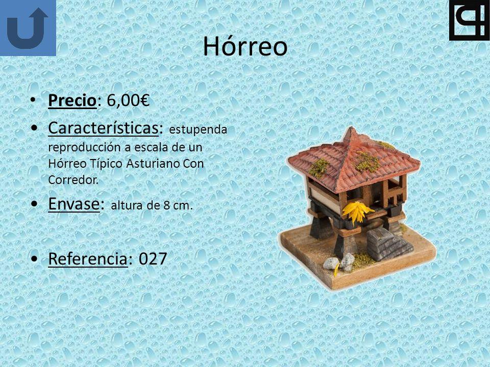 Hórreo Precio: 6,00 Características: estupenda reproducción a escala de un Hórreo Típico Asturiano Con Corredor. Envase: altura de 8 cm. Referencia: 0