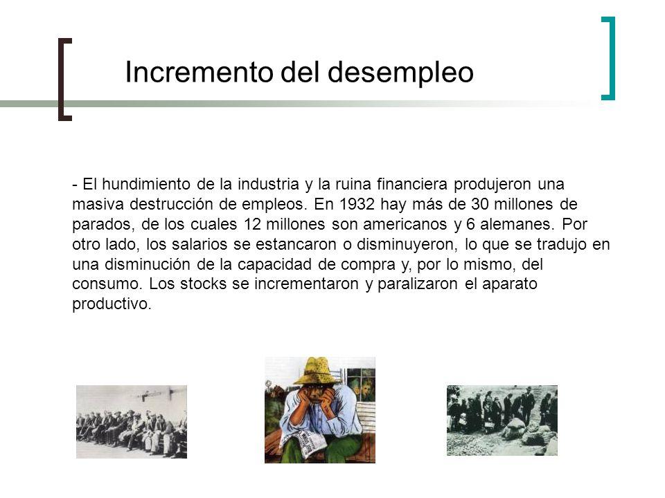 - El hundimiento de la industria y la ruina financiera produjeron una masiva destrucción de empleos. En 1932 hay más de 30 millones de parados, de los