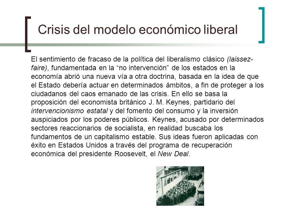 Crisis del modelo económico liberal El sentimiento de fracaso de la política del liberalismo clásico (laissez- faire), fundamentada en la no intervenc