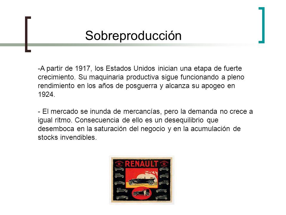 Sobreproducción -A partir de 1917, los Estados Unidos inician una etapa de fuerte crecimiento. Su maquinaria productiva sigue funcionando a pleno rend