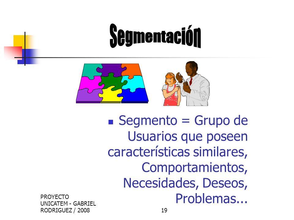 PROYECTO UNICATEM - GABRIEL RODRIGUEZ / 200820 Elegir Conscientemente Uno o Más Segmentos en los cuales enfocar los Esfuerzos de la Empresa.