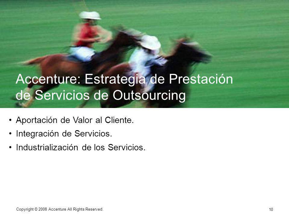 10 Copyright © 2008 Accenture All Rights Reserved. Aportación de Valor al Cliente. Integración de Servicios. Industrialización de los Servicios. Copyr