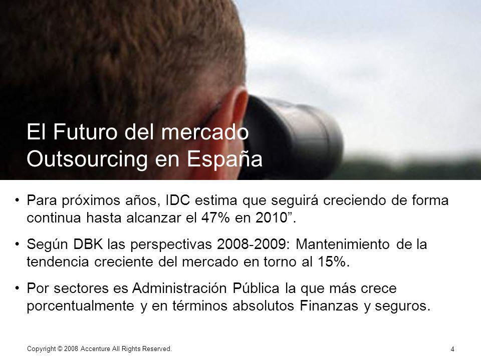 4 Copyright © 2008 Accenture All Rights Reserved. 4 Para próximos años, IDC estima que seguirá creciendo de forma continua hasta alcanzar el 47% en 20