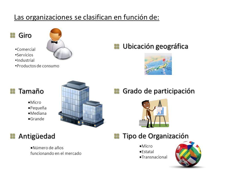 Ubicación geográfica Grado de participación Tipo de Organización Las organizaciones se clasifican en función de: GiroTamañoAntigüedad Comercial Servic