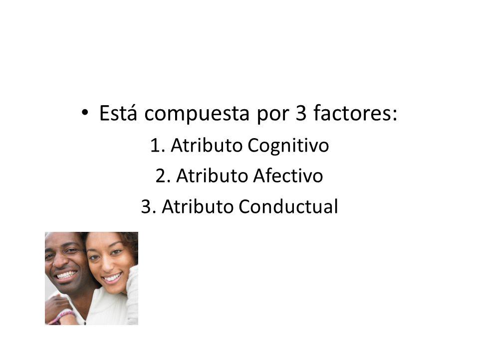 Está compuesta por 3 factores: 1. Atributo Cognitivo 2. Atributo Afectivo 3. Atributo Conductual