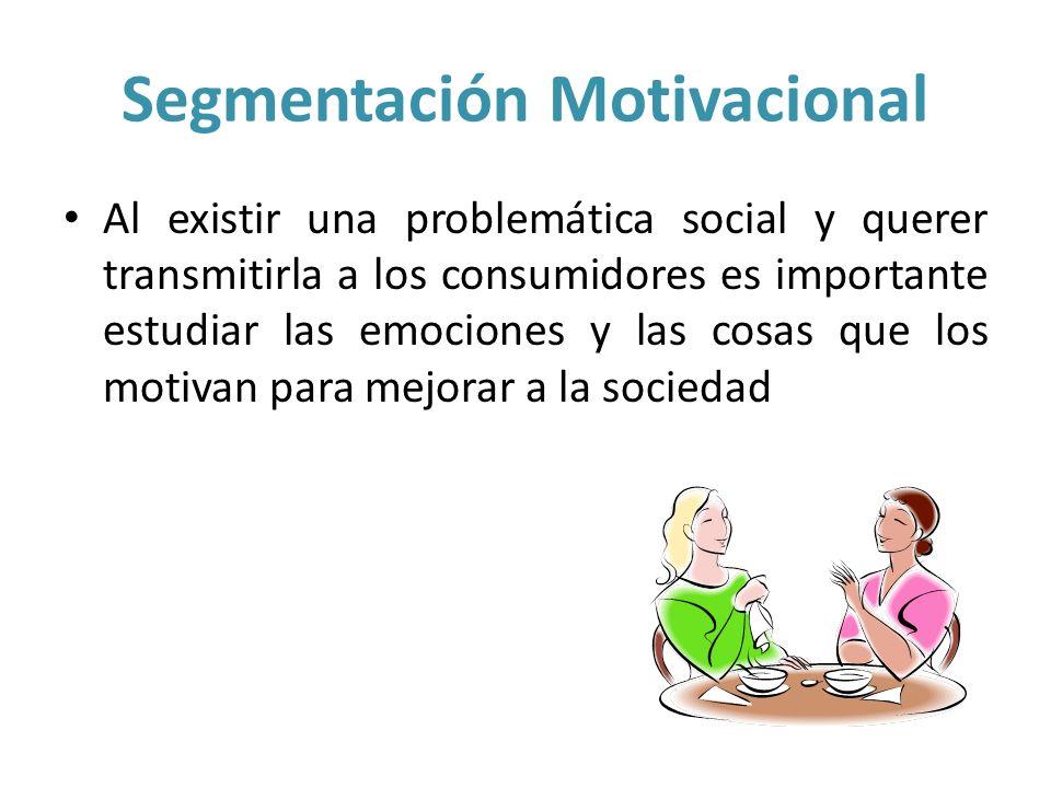 Segmentación Motivacional Al existir una problemática social y querer transmitirla a los consumidores es importante estudiar las emociones y las cosas