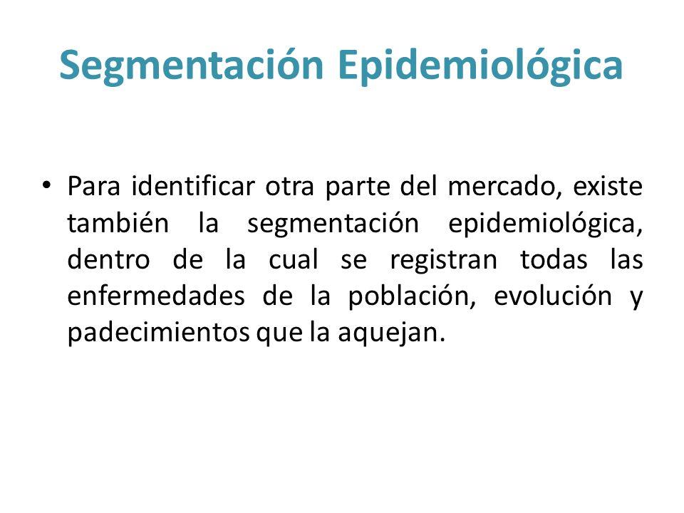Segmentación Epidemiológica Para identificar otra parte del mercado, existe también la segmentación epidemiológica, dentro de la cual se registran tod