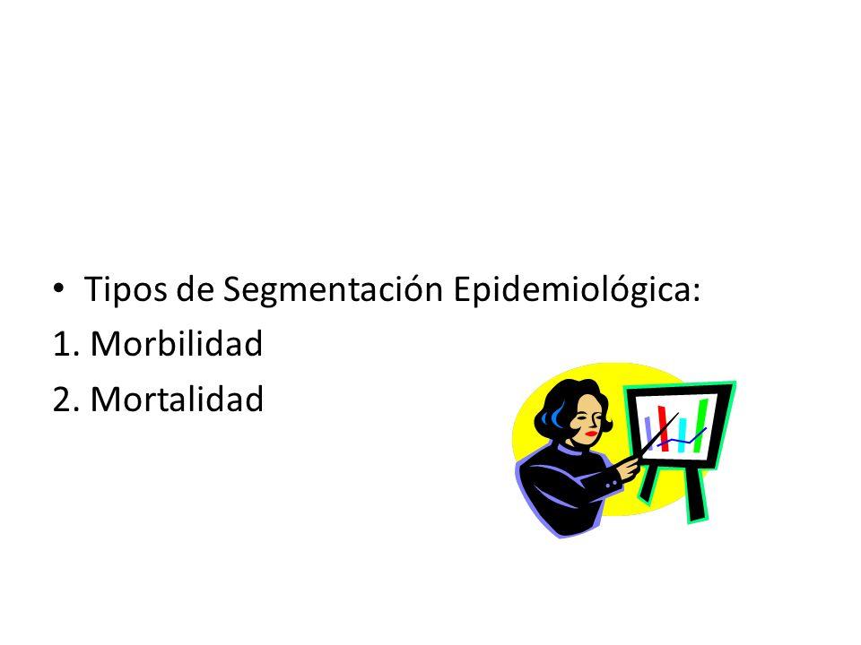 Tipos de Segmentación Epidemiológica: 1. Morbilidad 2. Mortalidad