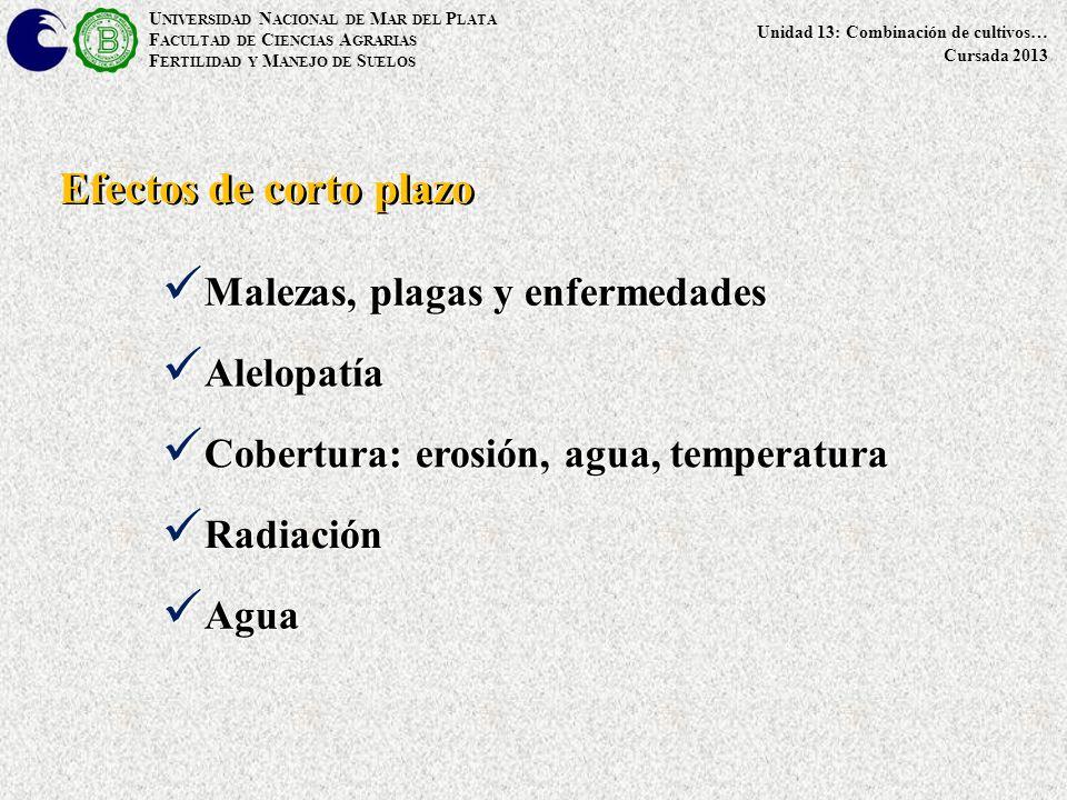 U NIVERSIDAD N ACIONAL DE M AR DEL P LATA F ACULTAD DE C IENCIAS A GRARIAS F ERTILIDAD Y M ANEJO DE S UELOS Unidad 13: Combinación de cultivos… Cursada 2013 Malezas, plagas y enfermedades Malezas, plagas y enfermedades Efectos de corto plazo Alelopatía Alelopatía Cobertura: erosión, agua, temperatura Cobertura: erosión, agua, temperatura Radiación Radiación Agua Agua