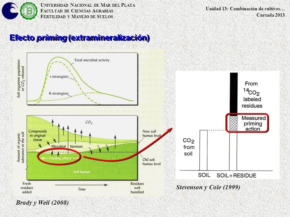 U NIVERSIDAD N ACIONAL DE M AR DEL P LATA F ACULTAD DE C IENCIAS A GRARIAS F ERTILIDAD Y M ANEJO DE S UELOS Unidad 13: Combinación de cultivos… Cursada 2013 Efecto priming (extramineralización) Brady y Weil (2008) Stevenson y Cole (1999)