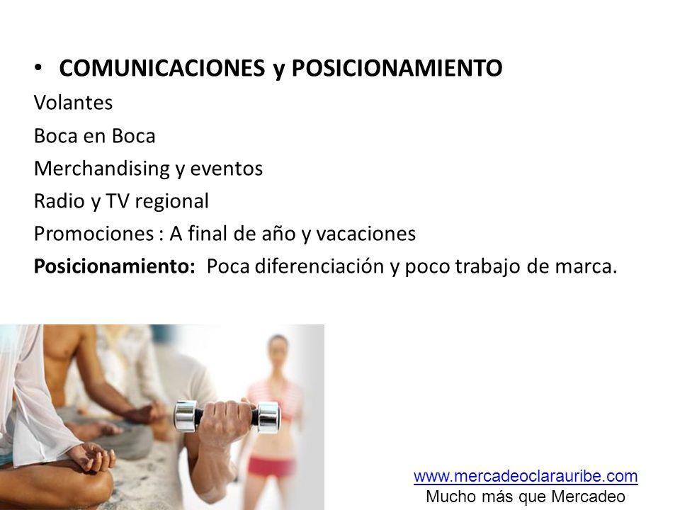 COMUNICACIONES y POSICIONAMIENTO Volantes Boca en Boca Merchandising y eventos Radio y TV regional Promociones : A final de año y vacaciones Posiciona