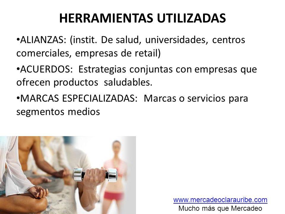 HERRAMIENTAS UTILIZADAS ALIANZAS: (instit. De salud, universidades, centros comerciales, empresas de retail) ACUERDOS: Estrategias conjuntas con empre