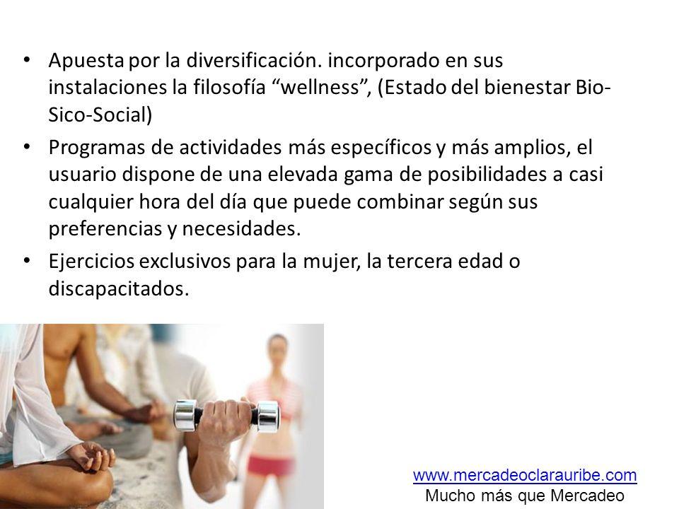 Apuesta por la diversificación. incorporado en sus instalaciones la filosofía wellness, (Estado del bienestar Bio- Sico-Social) Programas de actividad