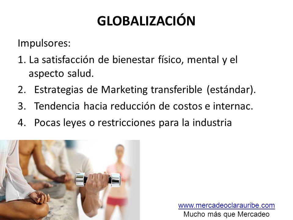 GLOBALIZACIÓN Impulsores: 1. La satisfacción de bienestar físico, mental y el aspecto salud. 2.Estrategias de Marketing transferible (estándar). 3.Ten