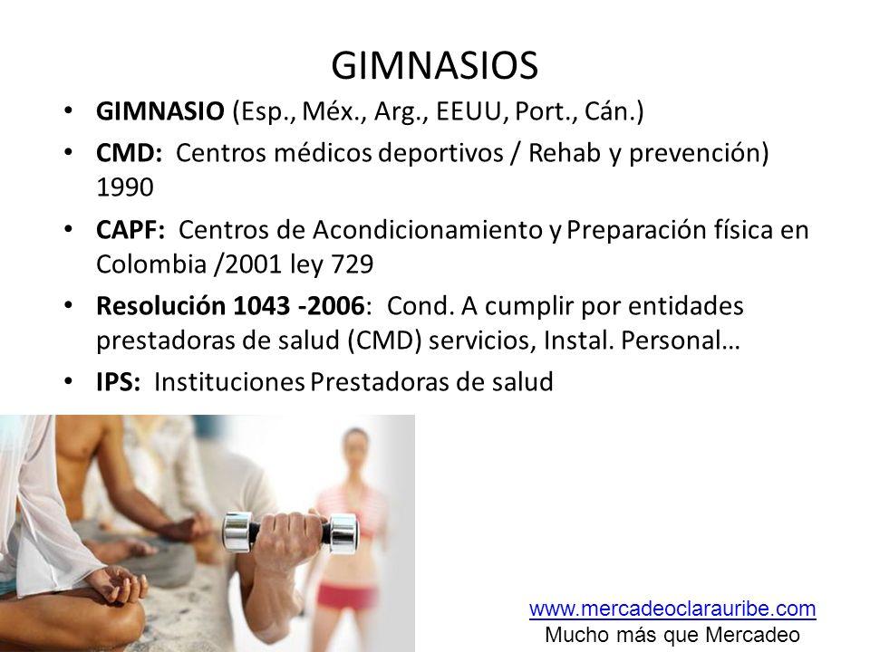 GIMNASIOS GIMNASIO (Esp., Méx., Arg., EEUU, Port., Cán.) CMD: Centros médicos deportivos / Rehab y prevención) 1990 CAPF: Centros de Acondicionamiento