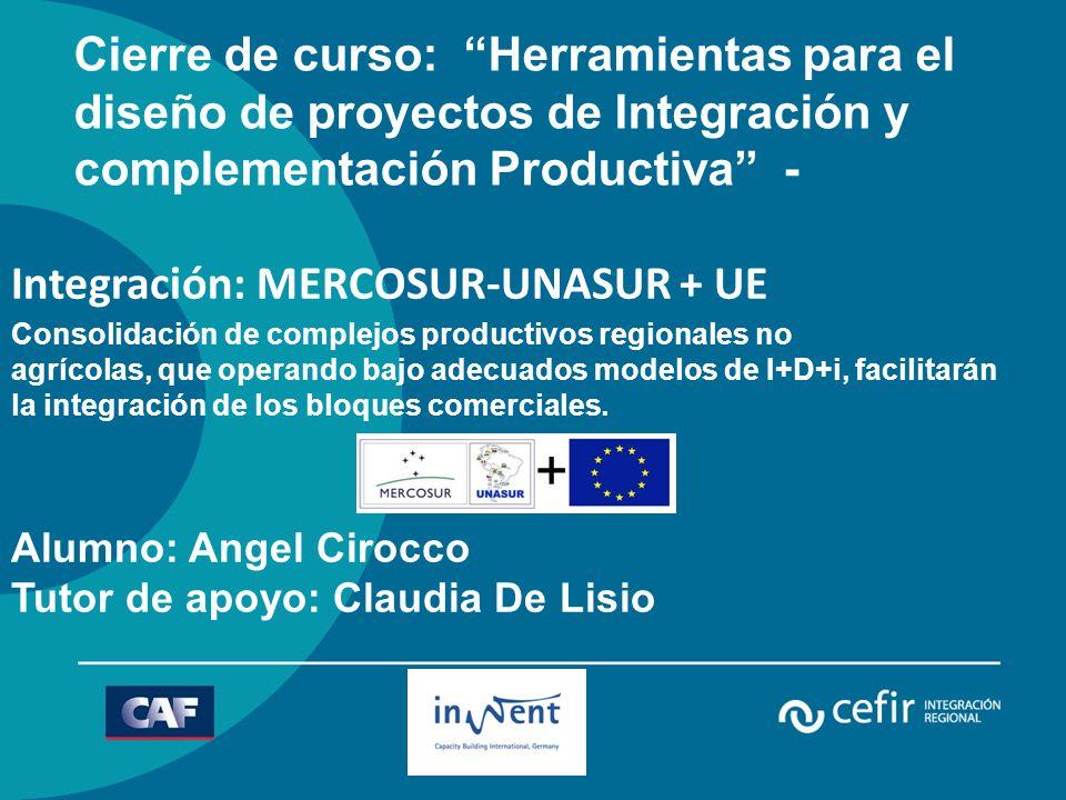Integración: MERCOSUR-UNASUR + UE Consolidación de complejos productivos regionales no agrícolas, que operando bajo adecuados modelos de I+D+i, facilitarán la integración de los bloques comerciales.