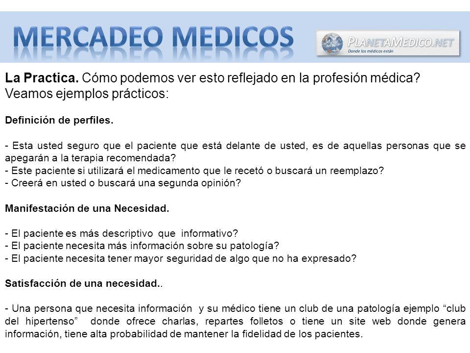 La Practica.Cómo podemos ver esto reflejado en la profesión médica.