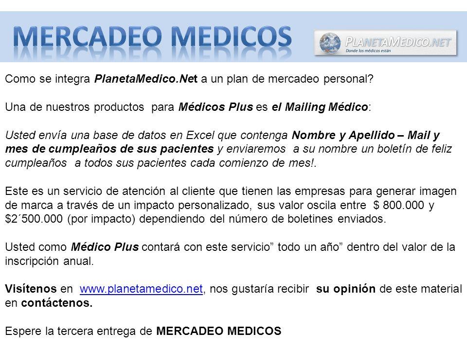 Como se integra PlanetaMedico.Net a un plan de mercadeo personal.