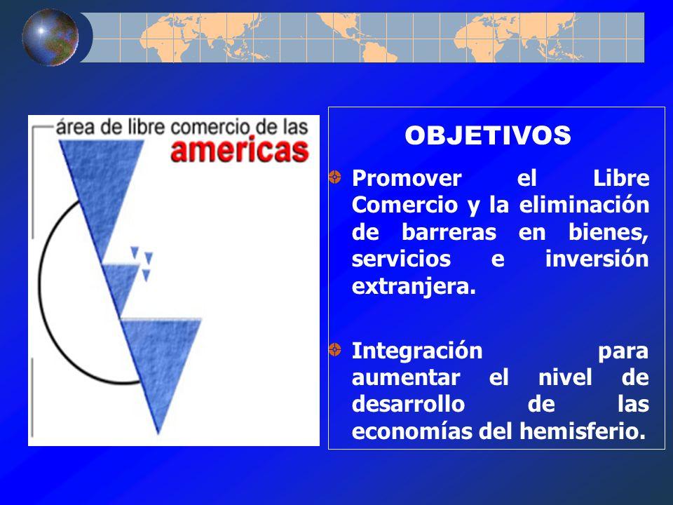 OBJETIVOS Promover el Libre Comercio y la eliminación de barreras en bienes, servicios e inversión extranjera. Integración para aumentar el nivel de d