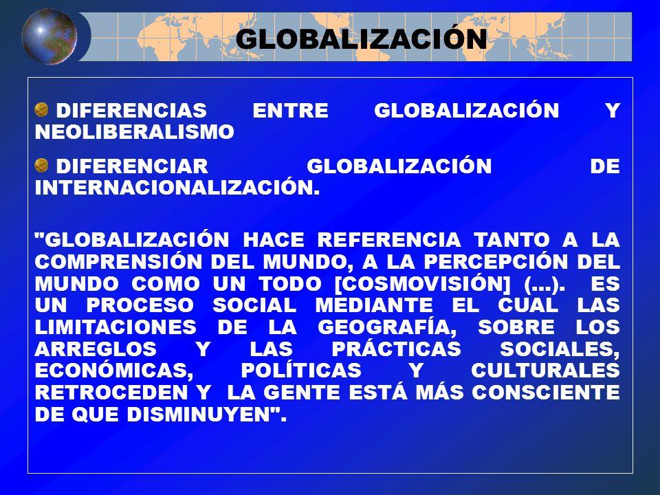 DIFERENCIAS ENTRE GLOBALIZACIÓN Y NEOLIBERALISMO DIFERENCIAR GLOBALIZACIÓN DE INTERNACIONALIZACIÓN.