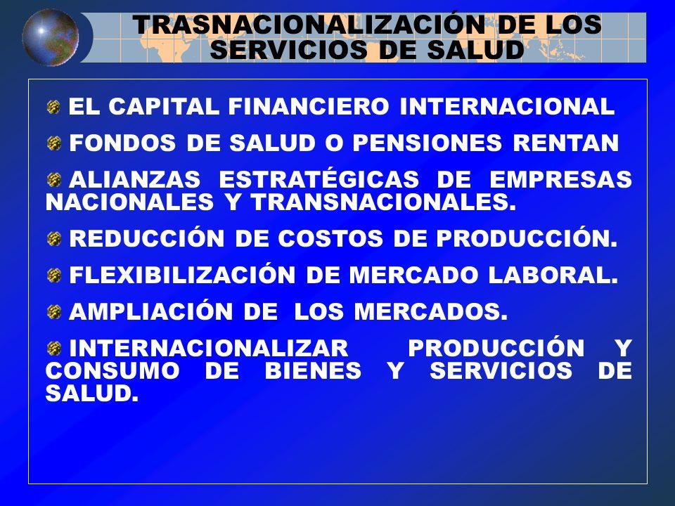 EL CAPITAL FINANCIERO INTERNACIONAL FONDOS DE SALUD O PENSIONES RENTAN ALIANZAS ESTRATÉGICAS DE EMPRESAS NACIONALES Y TRANSNACIONALES. REDUCCIÓN DE CO