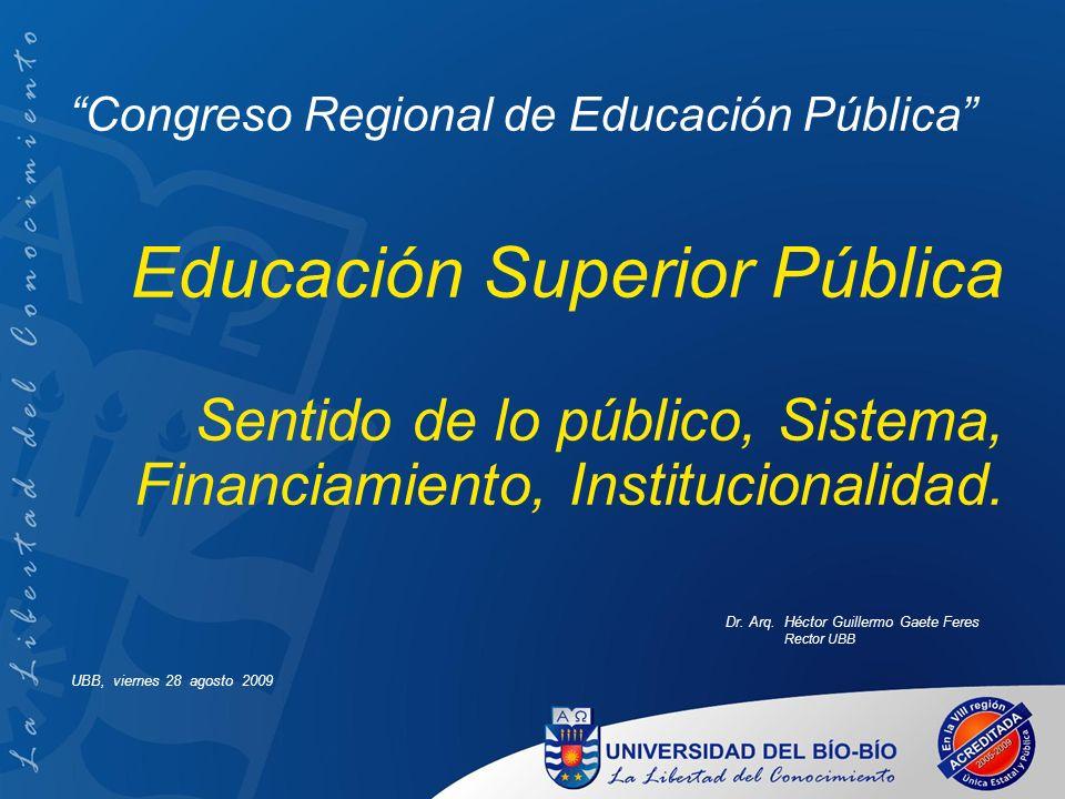 Congreso Regional de Educación Pública Educación Superior Pública Sentido de lo público, Sistema, Financiamiento, Institucionalidad. Dr. Arq. Héctor G